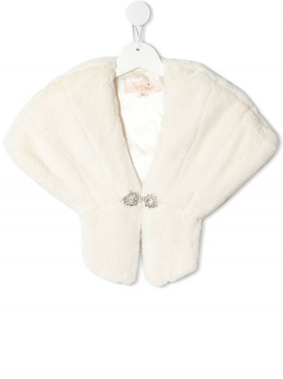 Girls Tutu du Monde faux fur shawl in natural colour with diamante hook and eye clasp